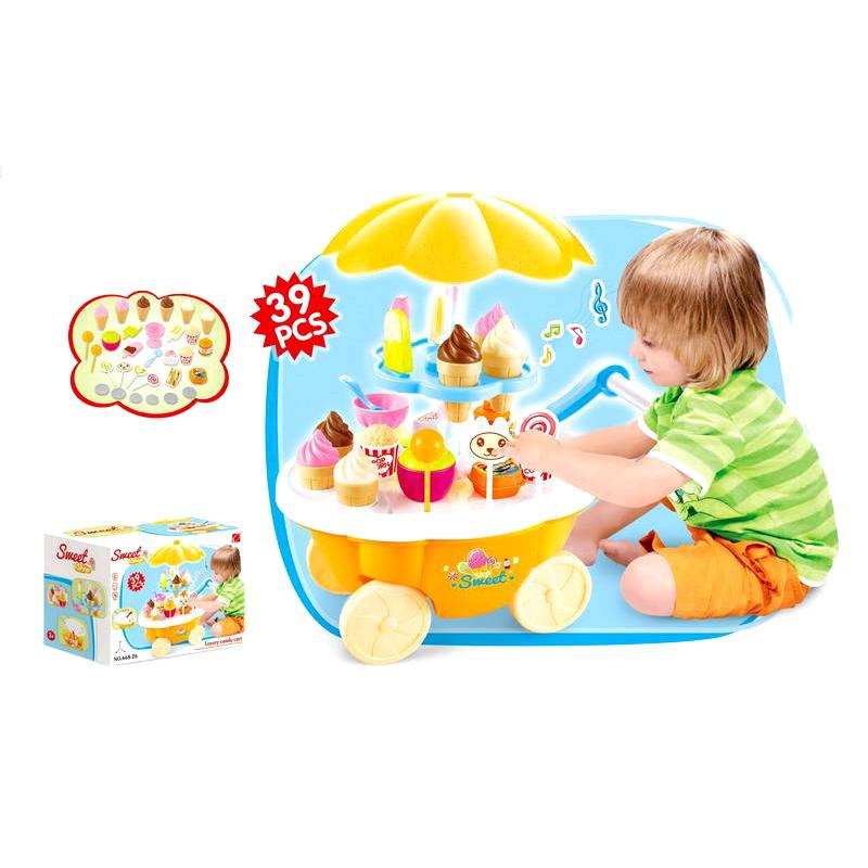 Игровой набор - Передвижная тележка-прилавок с мороженым, свет и звукДетская игрушка Касса. Магазин. Супермаркет<br>Игровой набор - Передвижная тележка-прилавок с мороженым, свет и звук<br>