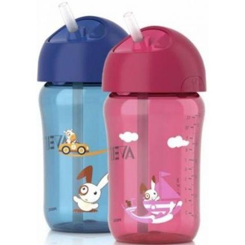 Чашка с трубочкой, 340 мл, розовая, голубаяТовары для кормления<br>Чашка с трубочкой, 340 мл, розовая, голубая<br>