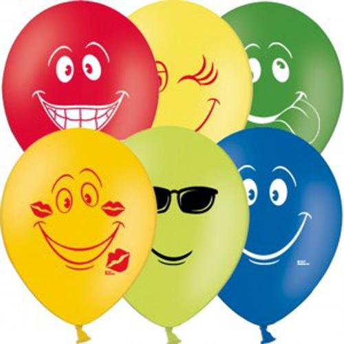 Набор шаров с рисунком – Улыбка, 5 шт. по 30 см.Воздушные шары<br>Набор шаров с рисунком – Улыбка, 5 шт. по 30 см.<br>