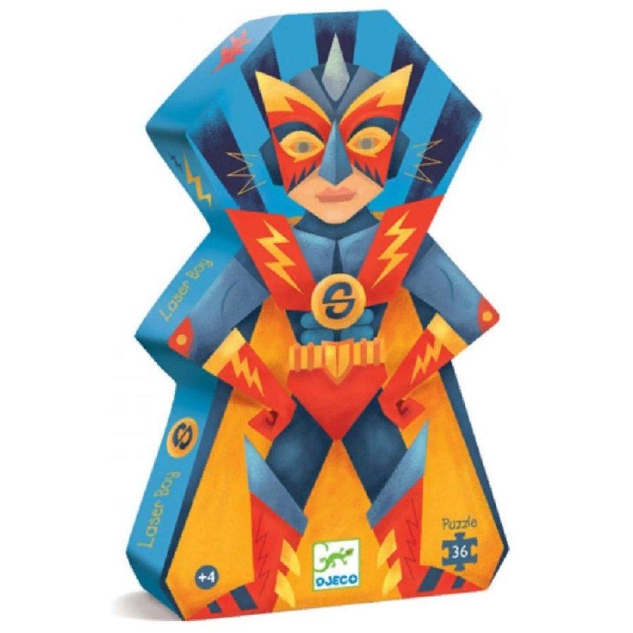 Купить Силуэтный пазл - Мальчик-лазер, 36 деталей, Djeco