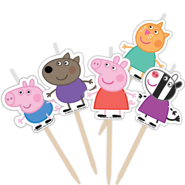 Набор свечей Пеппа и друзья на палочках 5 шт.Свинка Пеппа Peppa Pig<br>Набор свечей Пеппа и друзья на палочках 5 шт.<br>