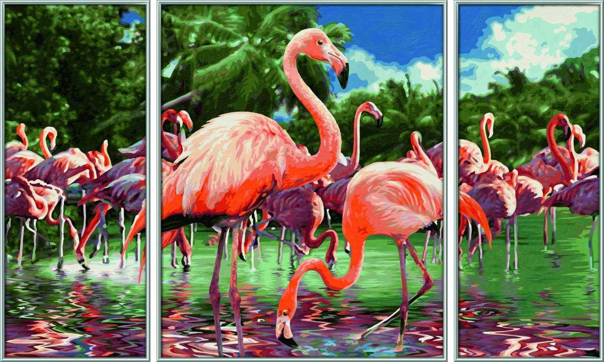 Картина по номерам – Триптих Фламинго, 50 х 80