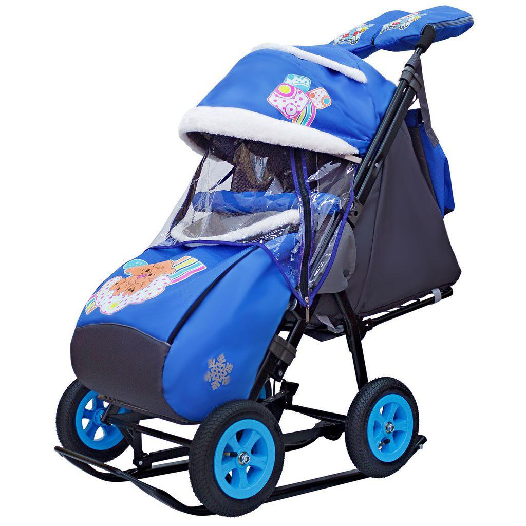 Санки-коляска Snow Galaxy City-1-1, дизайн - 2 Медведя на облаке на синем фоне, на больших надувных колёсах с сумкой и варежками фото