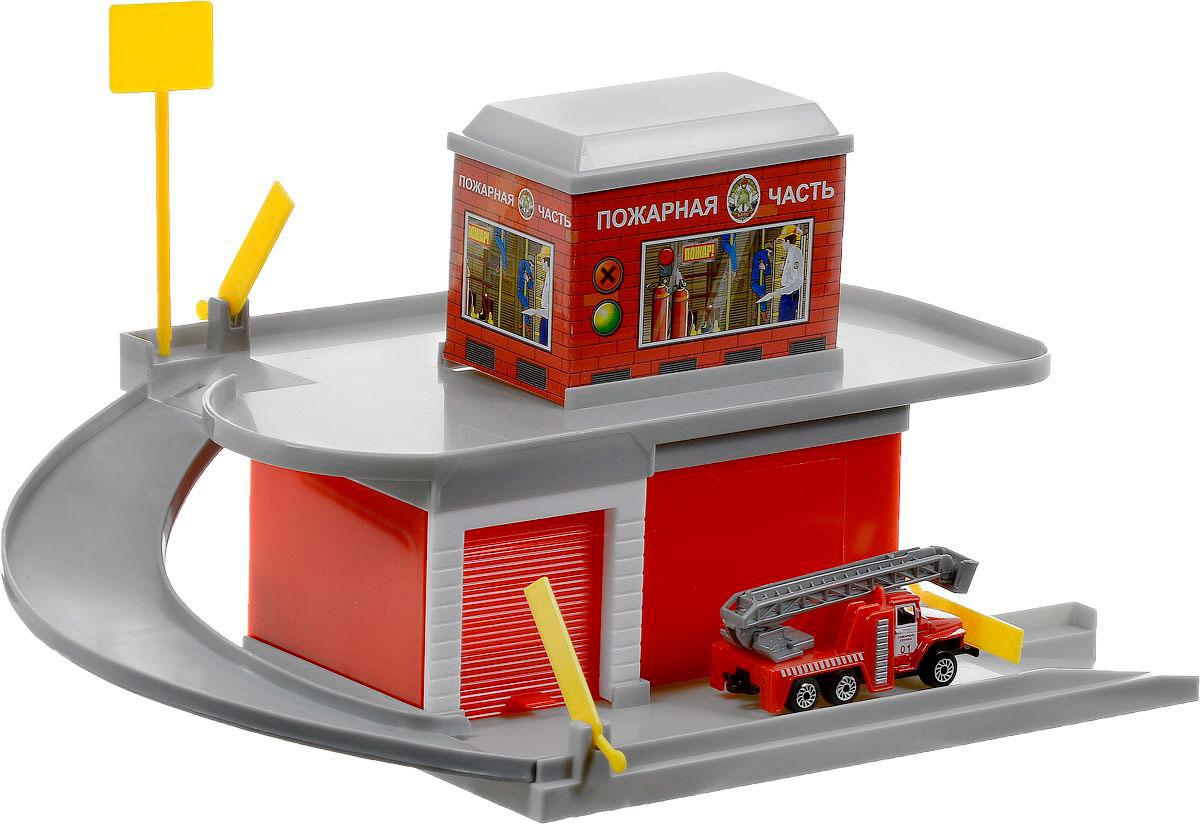 Гараж- паркинг – Пожарная часть с металлической машинкой 7,5 см.Детские парковки и гаражи<br>Гараж- паркинг – Пожарная часть с металлической машинкой 7,5 см.<br>