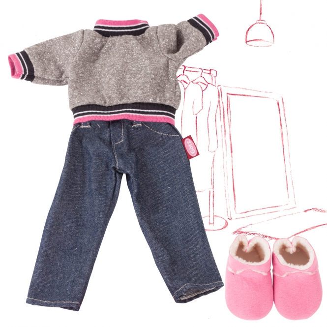 Набор одежды: брюки деним, свитер, ботинки, для кукол 45-50 см. фото