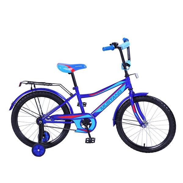 Купить Велосипед детский Mustang с колесами 20 , рама Z-тип, багажник, страховочные колеса, звонок, сине/голубой