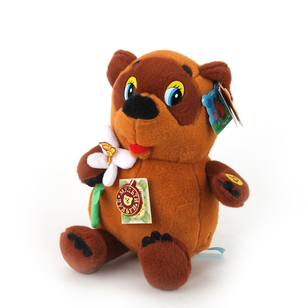 Озвученная мягкая игрушка - Винни Пух с цветком, 25 смГоворящие игрушки<br>Озвученная мягкая игрушка - Винни Пух с цветком, 25 см<br>