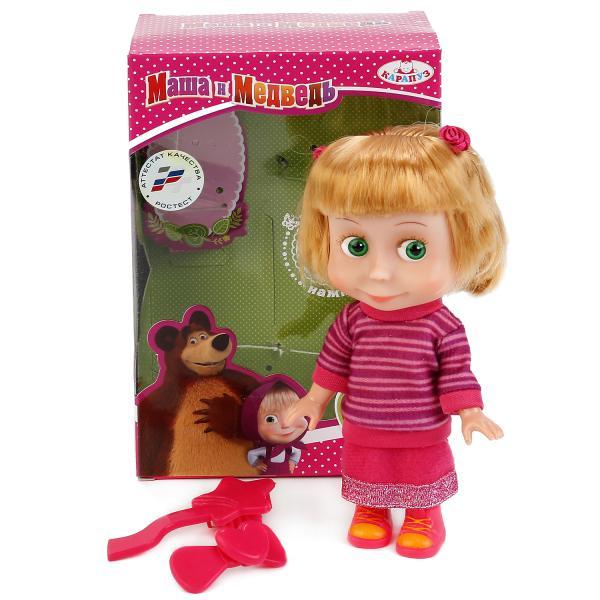 Купить Интерактивная кукла Маша в свитере из серии Маша и Медведь, озвученная, с аксессуарами, 15 см. sim), Карапуз