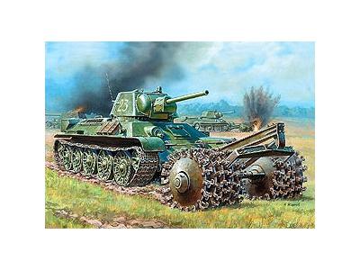 Модель для склеивания - Танк Т-34/76 с минным траломМодели танков для склеивания<br>Модель для склеивания - Танк Т-34/76 с минным тралом<br>