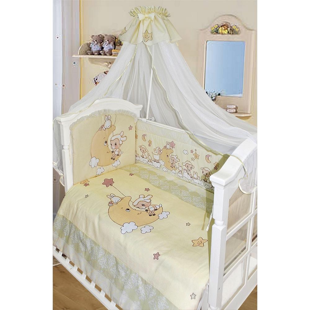 Комплект в кроватку 7 предметов - Овечка на луне, молочныйДетское постельное белье<br>Комплект в кроватку 7 предметов - Овечка на луне, молочный<br>