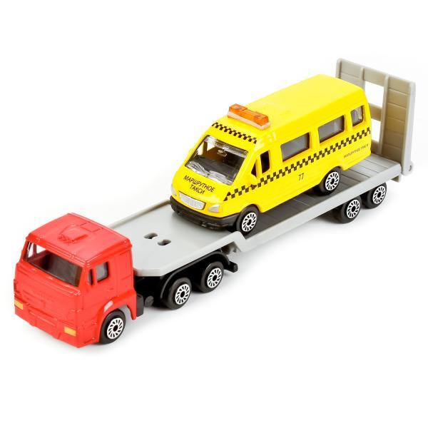 Купить Набор из 2 металлических машин – Камаз автотранспортер и Газель, 7, 5 см, Технопарк