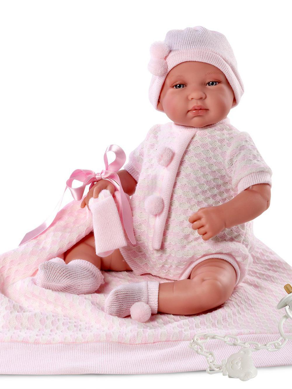 Кукла младенец в розовой шапочке, 43 см., с одеяломИспанские куклы Llorens Juan, S.L.<br>Кукла младенец в розовой шапочке, 43 см., с одеялом<br>