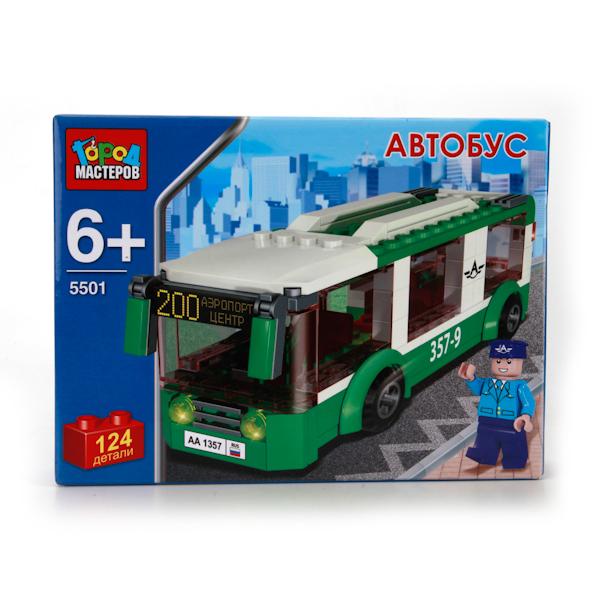 Конструктор – Автобус, 124 деталиГород мастеров<br>Конструктор – Автобус, 124 детали<br>