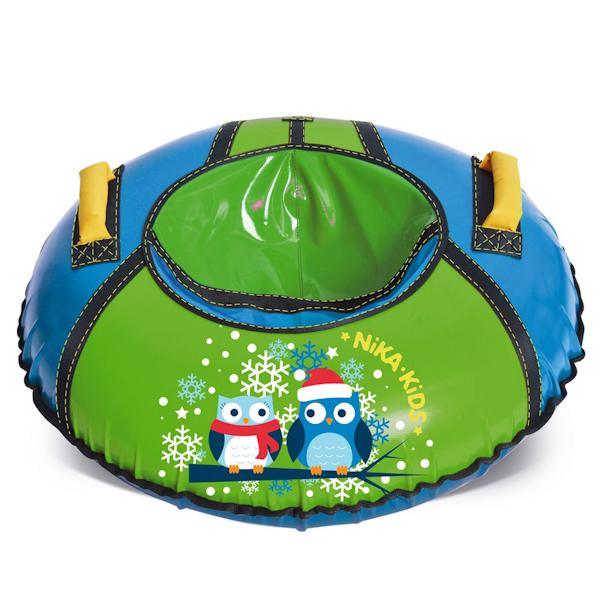 Тюбинг диаметром 85 см, цвет -  голубой/зеленый, дизайн - СовушкиВатрушки и ледянки<br>Тюбинг диаметром 85 см, цвет -  голубой/зеленый, дизайн - Совушки<br>