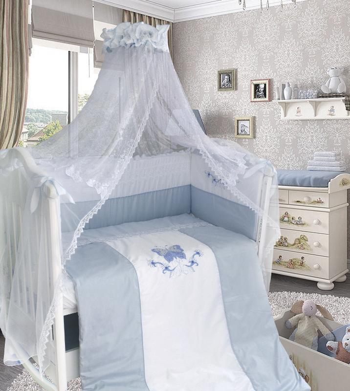 Комплект в кроватку - Абэль сатин, 7 предметов, голубойДетское постельное белье<br>Комплект в кроватку - Абэль сатин, 7 предметов, голубой<br>