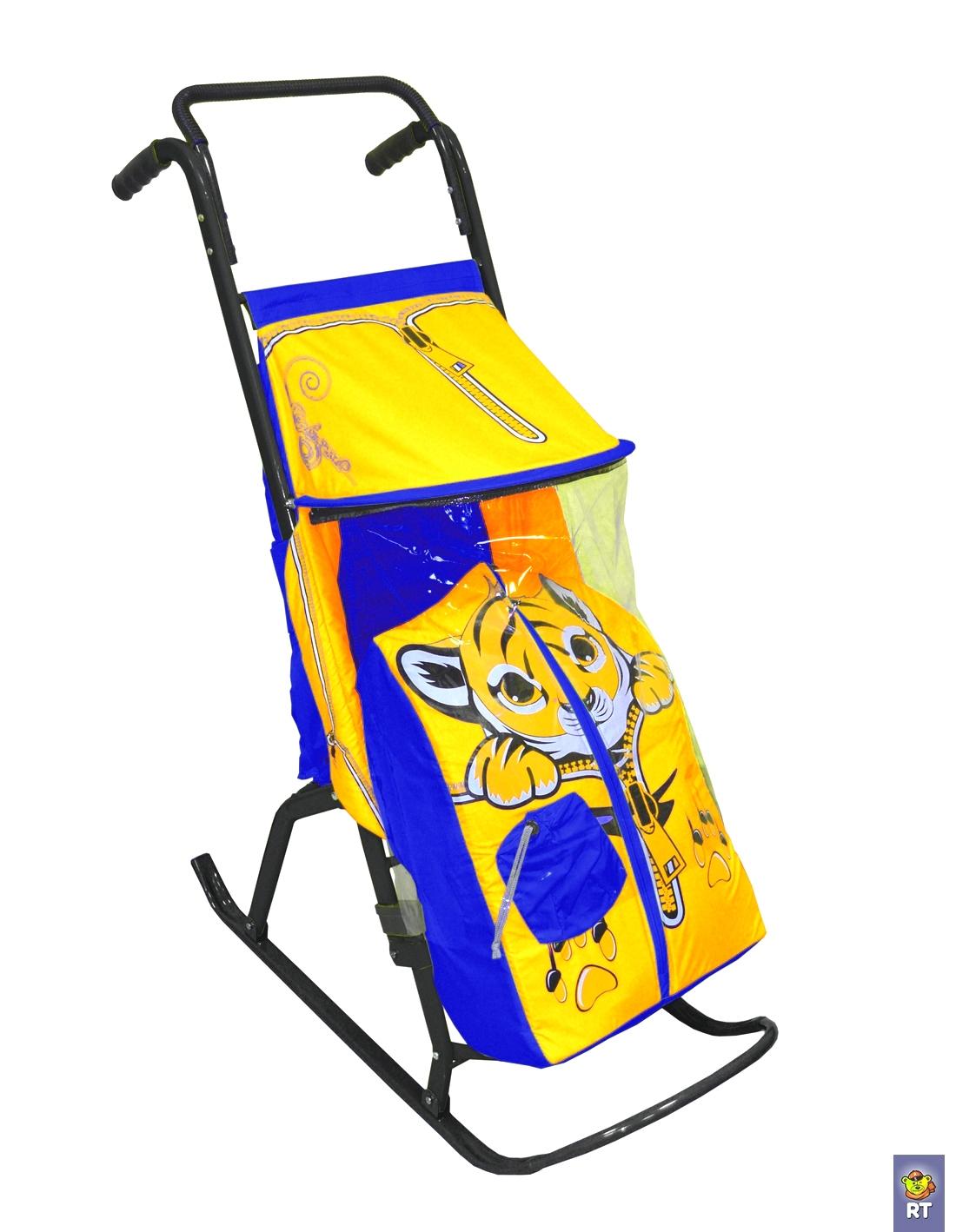 Санки-коляска - Снегурочка-2-Р – Тигренок, цвет желтый-голубойСанки и сани-коляски<br>Санки-коляска - Снегурочка-2-Р – Тигренок, цвет желтый-голубой<br>