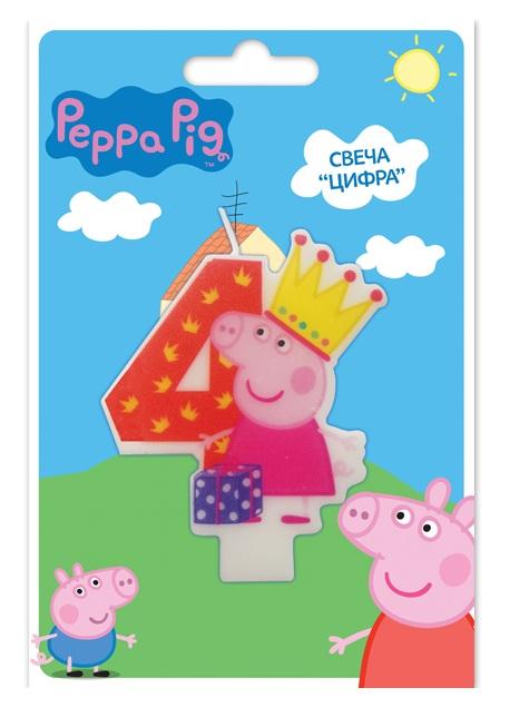 Свеча объемная 4 года Peppa PigСвинка Пеппа (Peppa Pig )<br>Свеча объемная 4 года Peppa Pig<br>