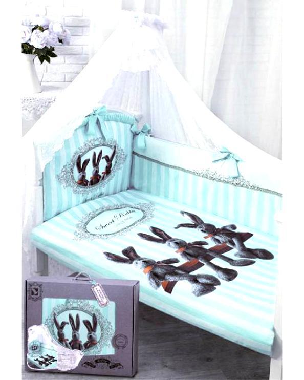 Комплект в кроватку – Sweet Rabbit, 7 предметов, голубойДетское постельное белье<br>Комплект в кроватку – Sweet Rabbit, 7 предметов, голубой<br>