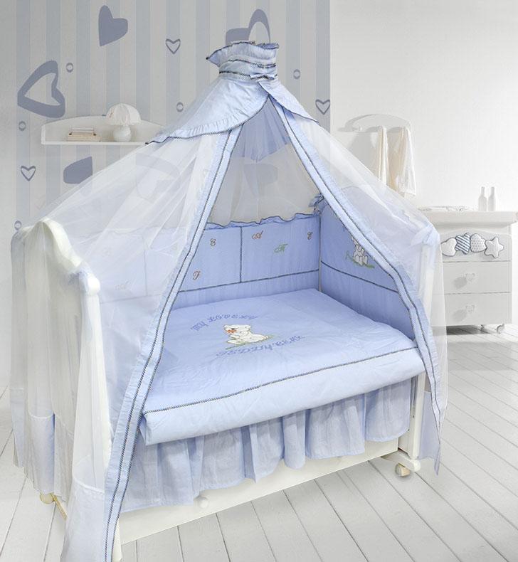 Комплект в кроватку - Тедди Бир, 7 предметов, голубойДетское постельное белье<br>Комплект в кроватку - Тедди Бир, 7 предметов, голубой<br>