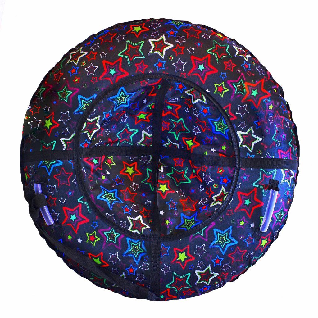Санки надувные Тюбинг Разноцветные звезды, диаметр 87см.Ватрушки и ледянки<br>Санки надувные Тюбинг Разноцветные звезды, диаметр 87см.<br>