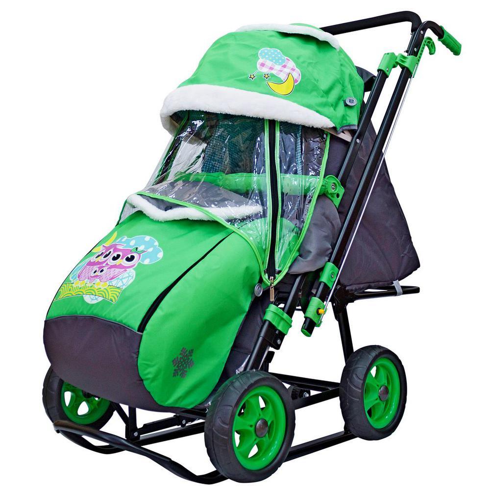 Санки-коляска Snow Galaxy City-2 - Совушки на зеленом, на больших колесах Ева, сумка, варежки RT