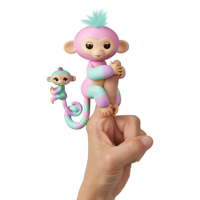 Купить Интерактивная обезьянка Fingerlings – Эшли с малышом, 12 см, звук, WowWee