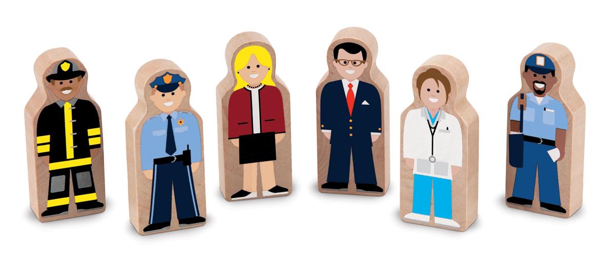 """Melissa&Doug Набор фигурок Профессии, 6 персонажей из серии """"Деревянный мир"""""""
