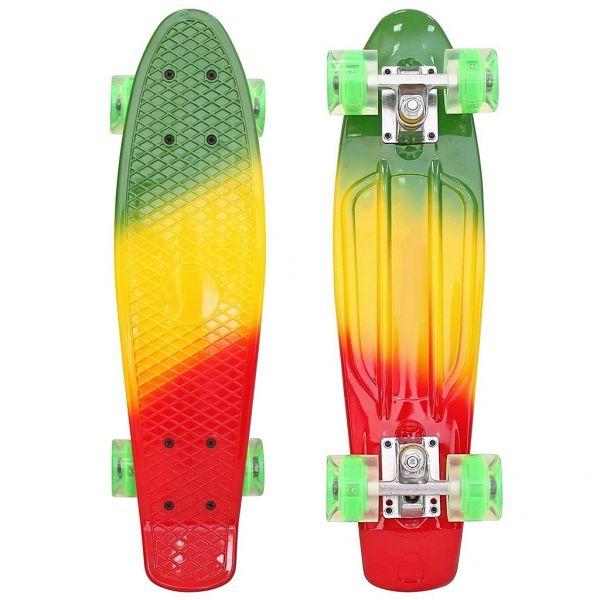 171208 Скейтборд Classic 26YWHJ-28 со светящимися колесами, цвет зеленый/оранжевый/красныйДетские скейтборды<br>171208 Скейтборд Classic 26YWHJ-28 со светящимися колесами, цвет зеленый/оранжевый/красный<br>