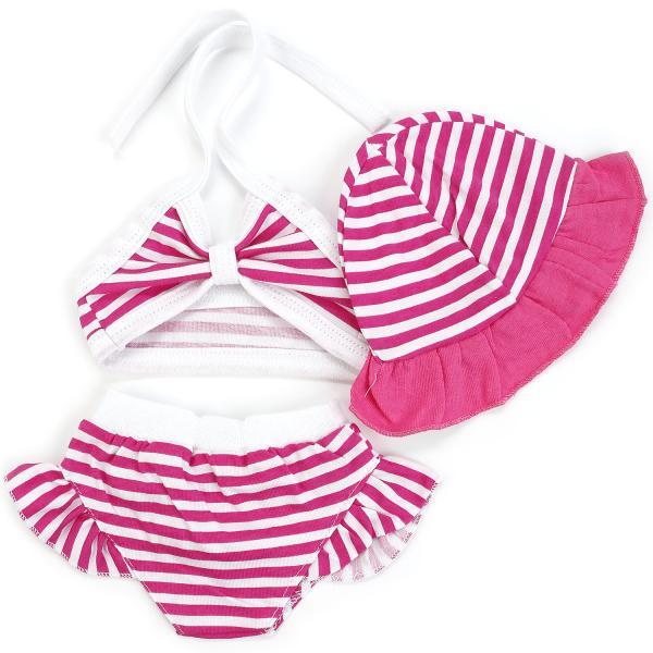Комплект одежды для куклы размером 40-42 см. - Купальник, бело-розовыйОдежда для кукол<br>Комплект одежды для куклы размером 40-42 см. - Купальник, бело-розовый<br>