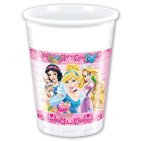 Стаканы пластиковые из серии Принцессы и животные, 8 шт. по 200 мл.Принцессы Дисней<br>Стаканы пластиковые из серии Принцессы и животные, 8 шт. по 200 мл.<br>