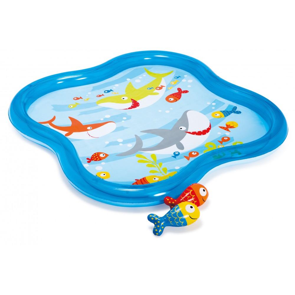 Бассейн детский прямоугольный с фонтанчиком и рыбкамиДетские надувные бассейны<br>Бассейн детский прямоугольный с фонтанчиком и рыбками<br>