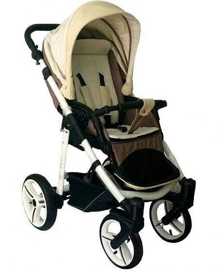 Детская прогулочная коляска Nico, бежево-коричневая, шасси белая/BIAДетские прогулочные коляски<br>Детская прогулочная коляска Nico, бежево-коричневая, шасси белая/BIA<br>