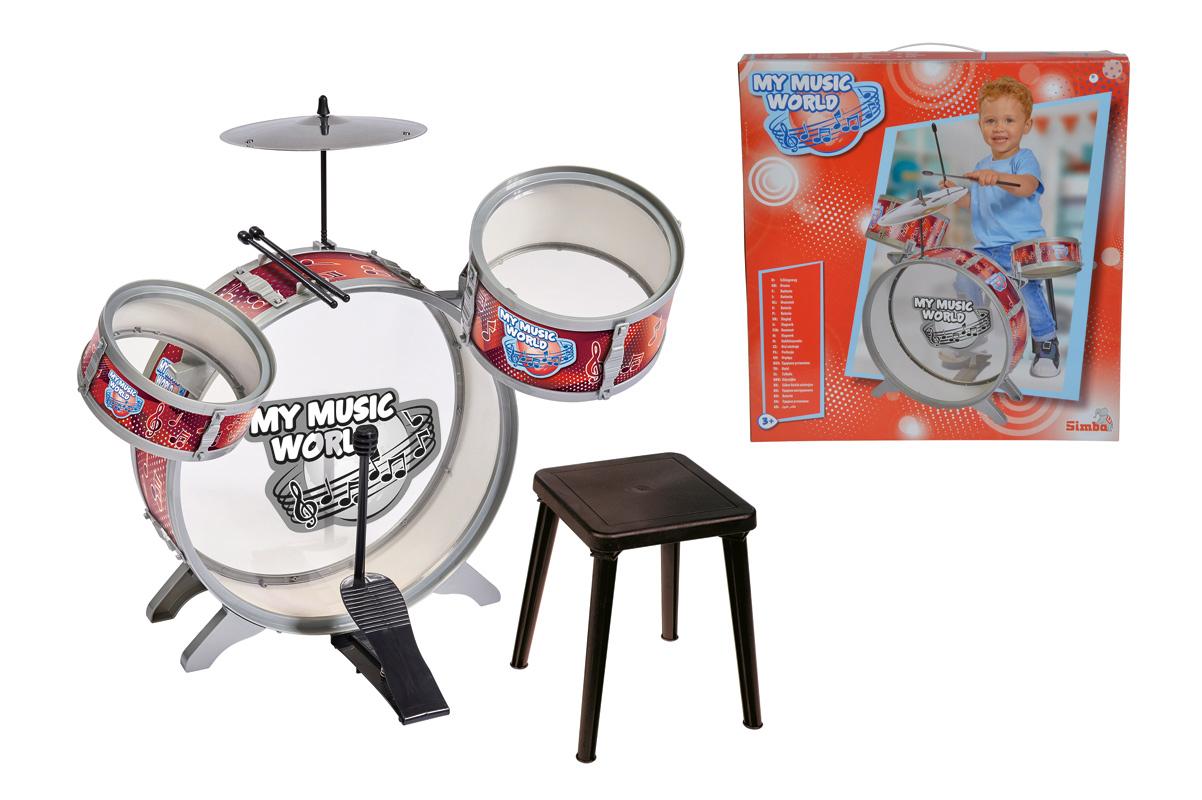 Барабанная установка с тарелками, барабанными палочками и стульчиком, 55 смБарабаны, маракасы<br>Барабанная установка с тарелками, барабанными палочками и стульчиком, 55 см<br>