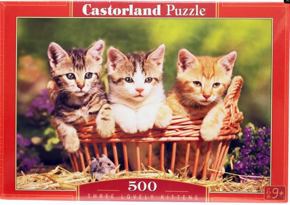 Пазл Castorland 500 деталей, Три котенкаПазлы<br>Пазл Castorland 500 деталей, Три котенка<br>