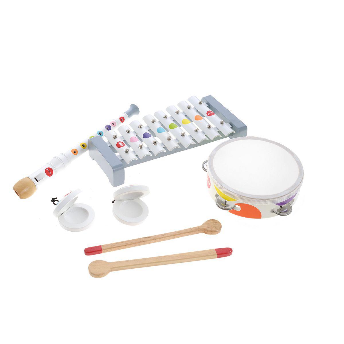 Набор белых музыкальных инструментов - металлофон, флейта, бубен, кастаньетыМузыкальные наборы<br>Набор белых музыкальных инструментов - металлофон, флейта, бубен, кастаньеты<br>