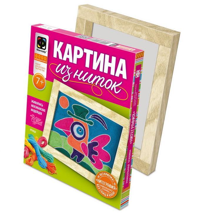 Набор для детского творчества - Картина из ниток - ПтицаАппликация, пайетки<br>Набор для детского творчества - Картина из ниток - Птица<br>