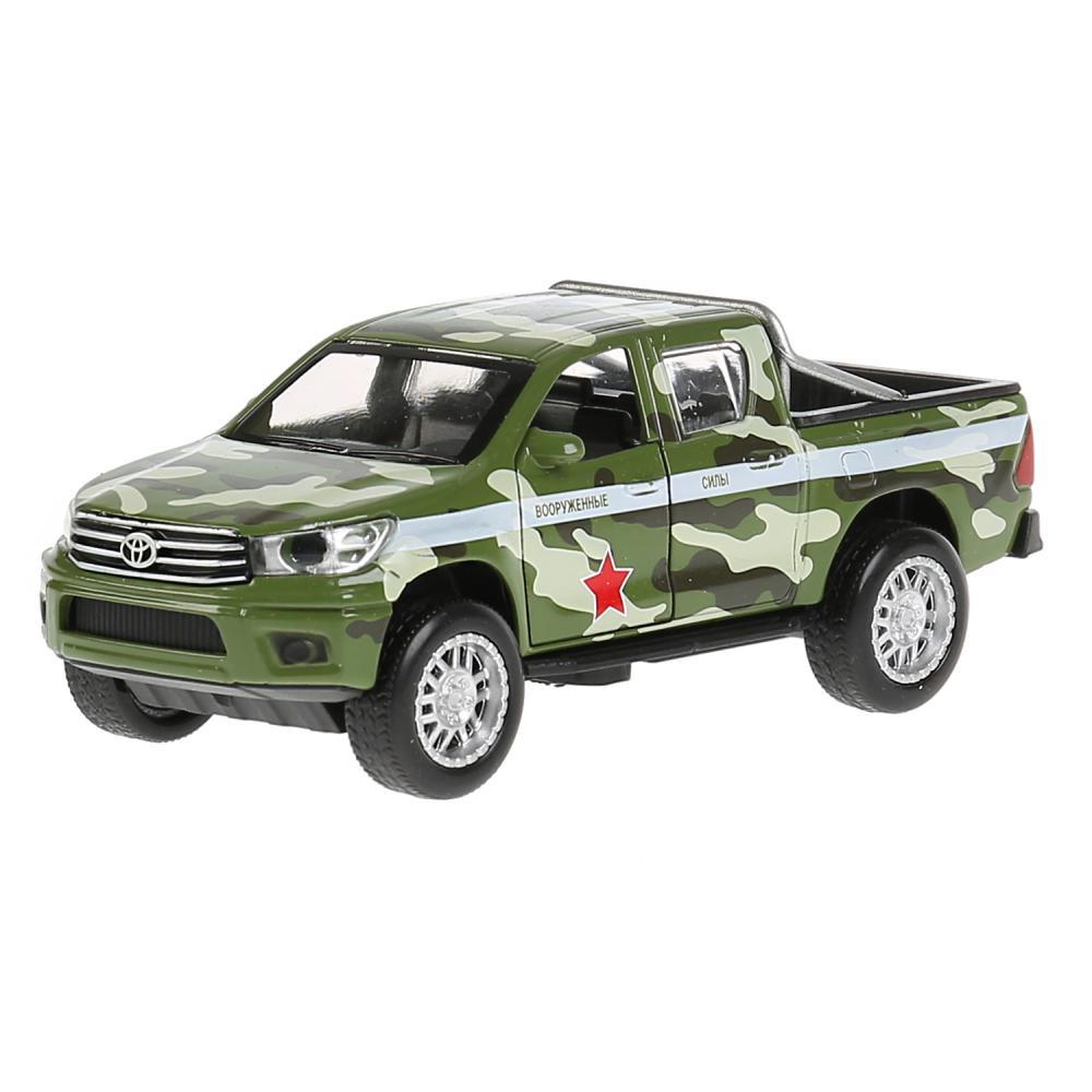 Купить Машина металлическая Toyota Hilux камуфляж 12 см, свет-звук, инерция, зеленая, Технопарк