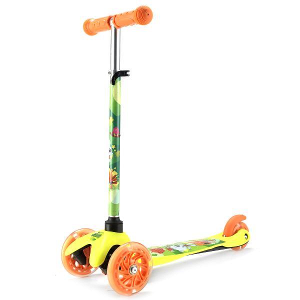 Трехколесный самокат – Ми-ми-мишки, светящиеся колеса 12 и 8 см, желто-оранжевый