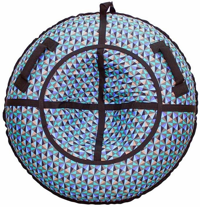 Санки надувные - Тюбинг, разноцветные треугольники, диаметр 118 смВатрушки и ледянки<br>Санки надувные - Тюбинг, разноцветные треугольники, диаметр 118 см<br>