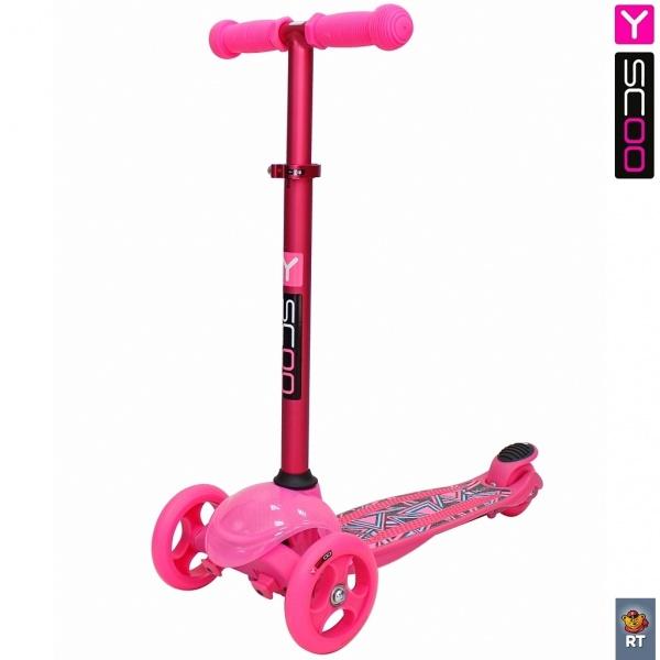 Купить Самокат трехколесный Trio Diamond 120 - Kaleidoscope светящаяся платформа, pink, Y-Scoo
