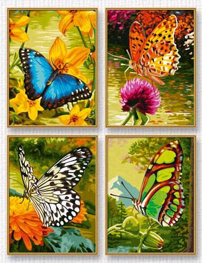 Четыре картины для детского творческого развития Бабочки, размер 18х24Раскраски по номерам Schipper<br>Четыре картины для детского творческого развития Бабочки, размер 18х24<br>