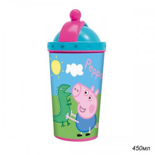 Фляга с крышкой и трубочкой «Свинка Пеппа», дизайн 3Д, 450 мл.Свинка Пеппа Peppa Pig<br>Фляга с крышкой и трубочкой «Свинка Пеппа», дизайн 3Д, 450 мл.<br>