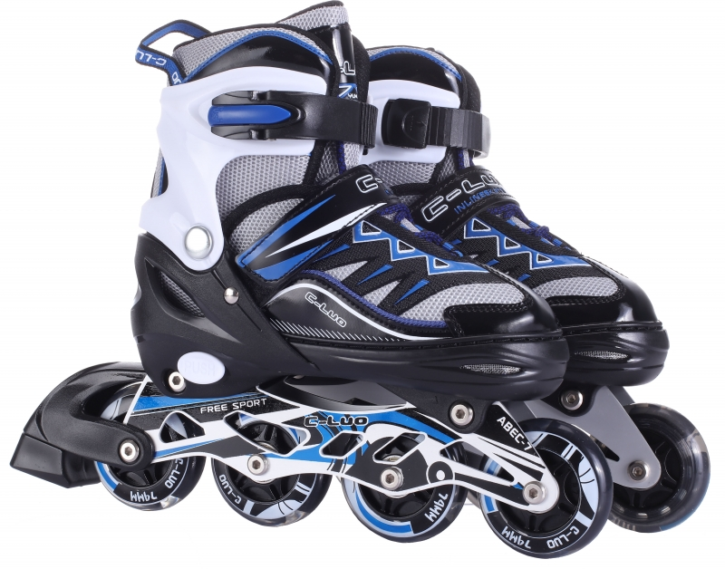 Купить Коньки роликовые, переднее колесо со светом, L, 39-42, черно-синие, Navigator