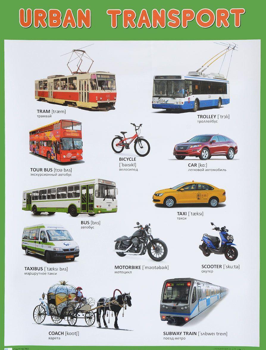Плакат английский - Urban Transport - Городской транспортАнглийский язык для детей<br>Плакат английский - Urban Transport - Городской транспорт<br>