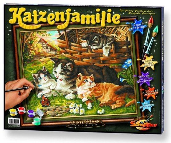 Семейство кошачьих, 40*50 смРаскраски по номерам Schipper<br>Раскраска по номерам Семейство кошачьих<br>Размер готовой работы: 40 х 50 см.<br>