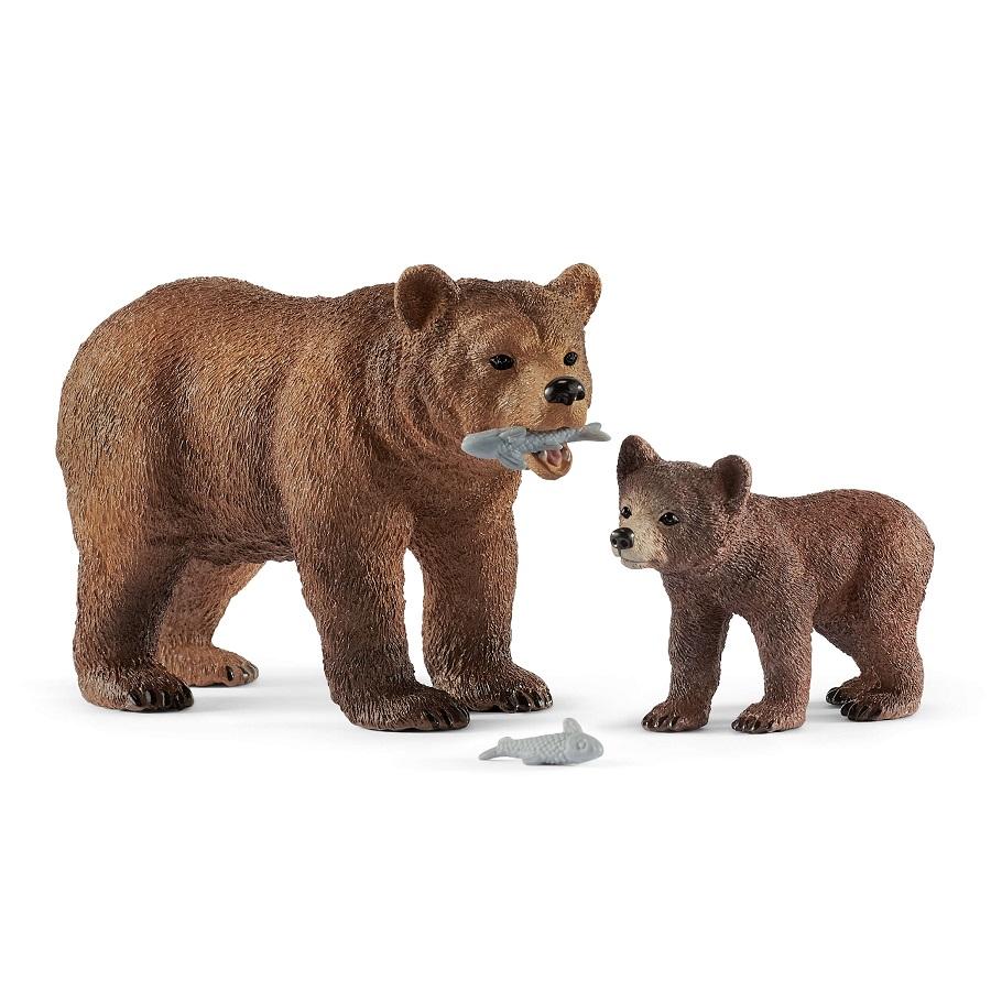 Купить Фигурки - Самка медведя гризли с детенышем, Schleich