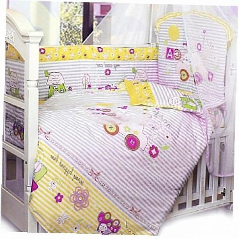 Комплект в кроватку – Cool Car, 7 предметов, розовыйДетское постельное белье<br>Комплект в кроватку – Cool Car, 7 предметов, розовый<br>