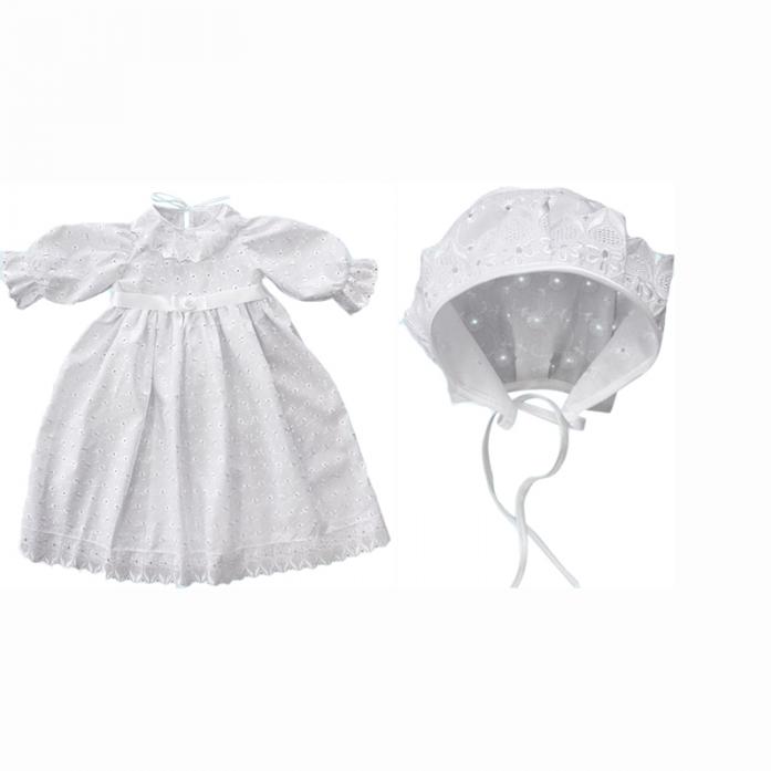 Крестильное платье и чепчик для девочек от Toyway