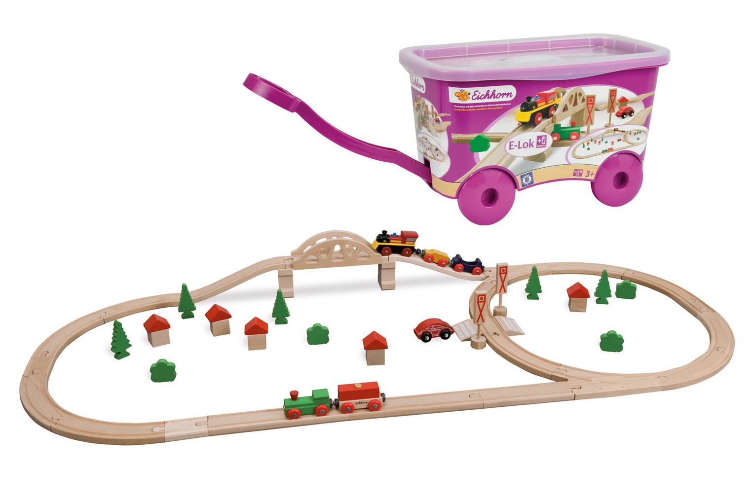 Eichhorn Набор деревянной железной дороги в тележке