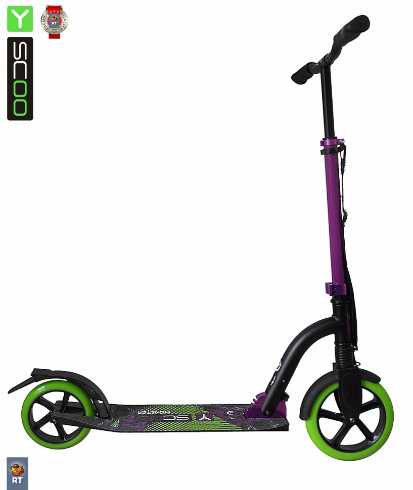 Самокат RT Monster 230 с амортизатором green/purple